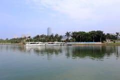 太阳能游艇码头 库存图片
