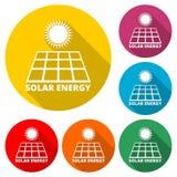 太阳能盘区象,与长的阴影的颜色象 库存照片