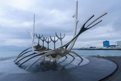 太阳航海者纪念碑,在雷克雅未克 库存图片