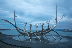 太阳航海者纪念碑,在雷克雅未克 库存照片