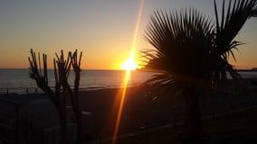 太阳落下 库存图片
