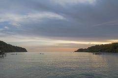 太阳落,光是美丽的 图库摄影