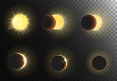 太阳蚀传染媒介例证 不同的阶段日蚀集合 图库摄影
