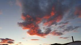 太阳设置云彩晚上时间蒙古 图库摄影