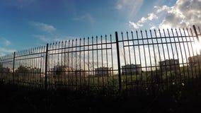 太阳通过篱芭 影视素材