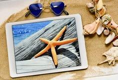 太阳镜、海星在片剂和贝壳 免版税库存照片