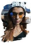 太阳镜和一个冠的少妇在螺栓 库存照片