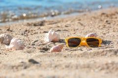 太阳镜和壳在沙子在海附近 图库摄影