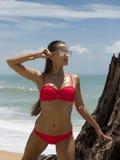 太阳镜和红色比基尼泳装的美丽的妇女在海滩 塑造查找 性感的夫人 图库摄影