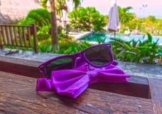 太阳镜和蝶形领结 免版税库存照片
