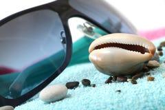 太阳镜和贝壳在海滩毛巾 免版税库存图片