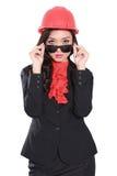 戴太阳镜的承包商女工 免版税库存照片