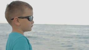太阳镜的男孩看海 股票视频