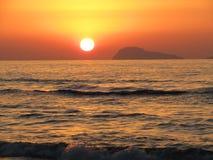 太阳集合海滩 免版税库存图片