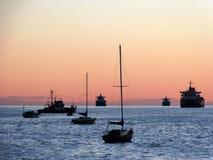 太阳集合海洋 库存照片