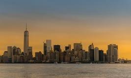 太阳集合的曼哈顿 库存图片