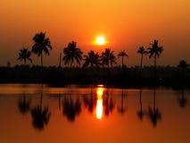 太阳集合风景 免版税库存照片