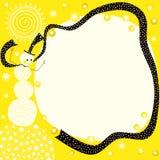太阳雪人黄色边界框架 免版税库存图片