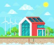太阳,地热和风能想法概念 免版税库存照片