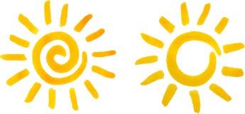太阳,水彩绘画 免版税图库摄影