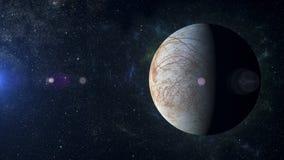 太阳系在星云背景的行星欧罗巴 免版税库存图片