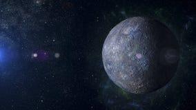 太阳系在星云背景3d翻译的行星水星 免版税库存照片