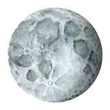 太阳系-地球卫星-月亮 额嘴装饰飞行例证图象其纸部分燕子水彩 免版税图库摄影