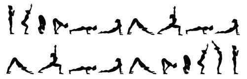太阳致敬 苏里亚Namaskara B 瑜伽序列 库存例证