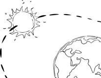 太阳系概述的以地球为中心的看法 免版税库存图片