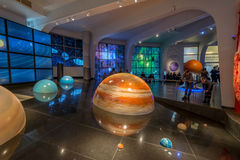 太阳系的交互式嘲笑在博物馆缪斯女神天文馆的在莫斯科,俄罗斯 免版税库存照片