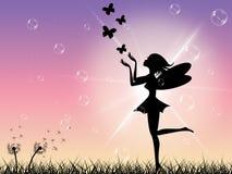 太阳蝴蝶表明童话和不可思议 图库摄影