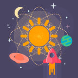 太阳系行星-导航太阳系行星的例证 在空间的行星 背景 钞票 海报 免版税图库摄影