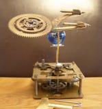太阳系仪Steampunk艺术时钟和太空船 免版税库存图片