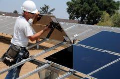 太阳3个安装的面板 免版税库存图片