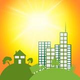 太阳Eco展示去绿色和城市 免版税库存图片