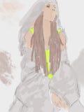 夫人剪影水彩画的灰色礼服的 库存图片