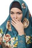 夫人在Hijab被某事击退或憎恶 免版税库存照片