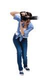 夫人摄影师采取快照 库存图片