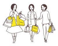 夫人沿着走有购物袋的街道 向量例证