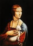 绘画夫人的我自己的再生产有一件白鼬毛皮的列奥纳多・达・芬奇 免版税库存照片