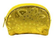 夫人的葡萄酒样式金黄钱包白色背景的 免版税库存照片