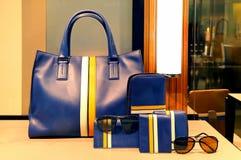 夫人皮革提包、钱包和辅助部件 免版税库存照片