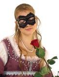 夫人红色玫瑰年轻人 图库摄影