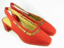 夫人红色穿上鞋子绒面革 免版税库存照片