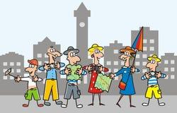 夫人-指南和小组镇的游人 向量例证