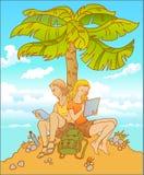 年轻夫妇、女孩和人一起在棕榈树下 库存图片