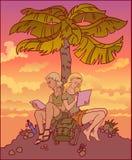 年轻夫妇、女孩和人一起学会在棕榈树下 免版税库存照片