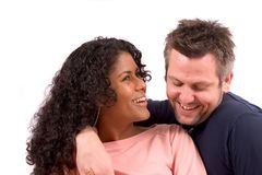 夫妇不同笑 免版税图库摄影