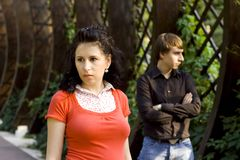 夫妇不快乐的年轻人 库存图片