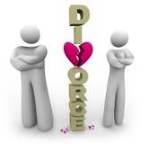 夫妇与与离婚的常设字离婚 库存照片